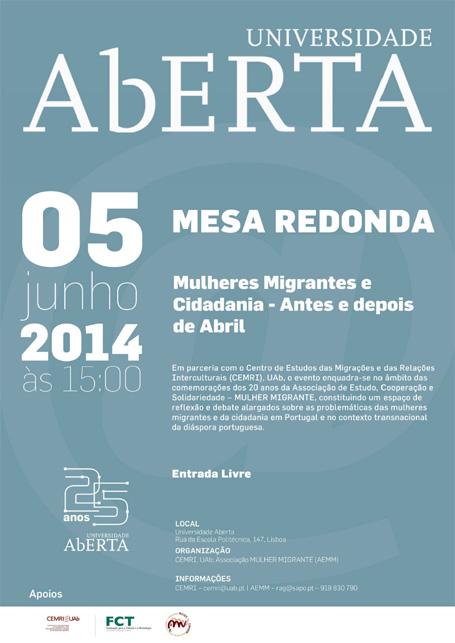 Mesa Redonda sobre «Mulheres Migrantes e Cidadania. Antes e Depois de Abril» (5 junho, Lisboa)