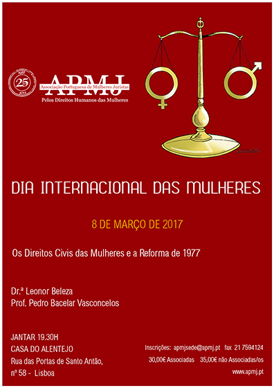 APMJ assinala o Dia Internacional das Mulheres (8 mar., Lisboa)