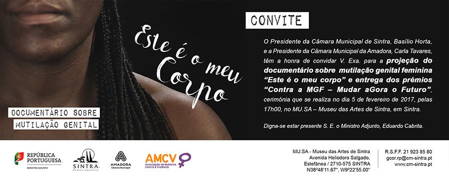 """Entrega do Prémio Contra a MGF – Mudar aGora o Futuro e Exibição do Documentário """"Este é o meu corpo"""" (5 fev., Sintra)"""