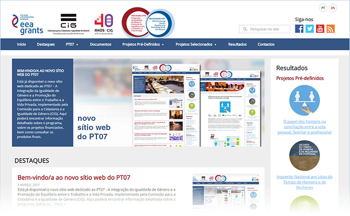 Novo sítio web do PT07 - EEA Grants