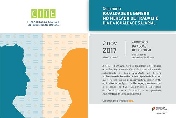 """Seminário """"A Igualdade de Género no mercado de trabalho - Dia da igualdade salarial"""" (2 nov., Lisboa)"""