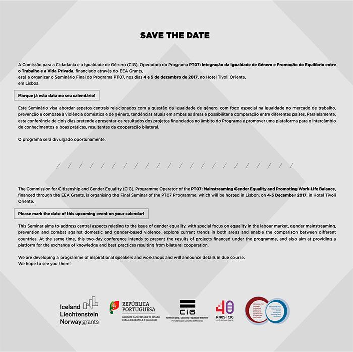SAVE THE DATE: 4-5 /12/2017 - Seminário Final do Programa PT07 / Final Seminar of the PT07 Programme