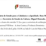 Convite – Cerimónia de atribuição do Prémio Nacional VIDArte – A Arte Contra a Violência Doméstica – 3ª edição (24 abr. Lisboa)