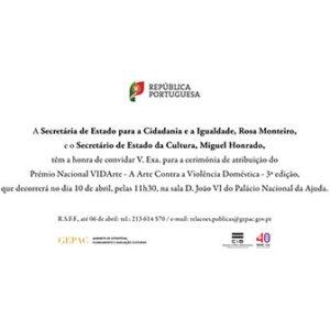 Cerimónia de atribuição do Prémio Nacional VIDArte - A Arte Contra a Violência Doméstica @ Lisboa | Lisboa | Portugal