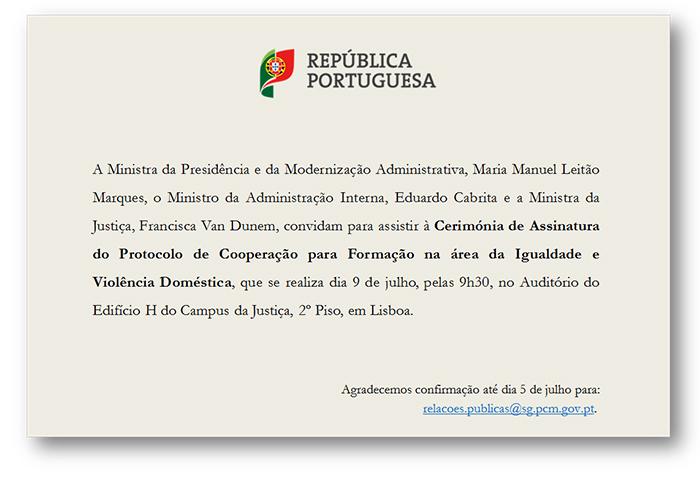 Assinatura de Protocolo de Cooperação para Formação na área da Igualdade e Violência Doméstica