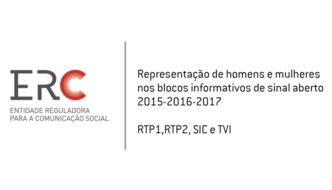 Relatório ERC da representação de mulheres e homens nos blocos informativos