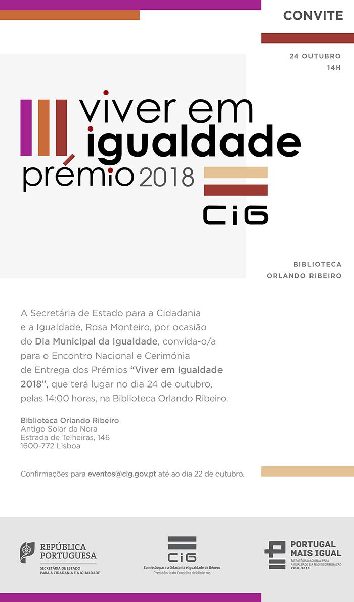 """Encontro Nacional e Entrega dos Prémios """"Viver em Igualdade"""" - Convite"""