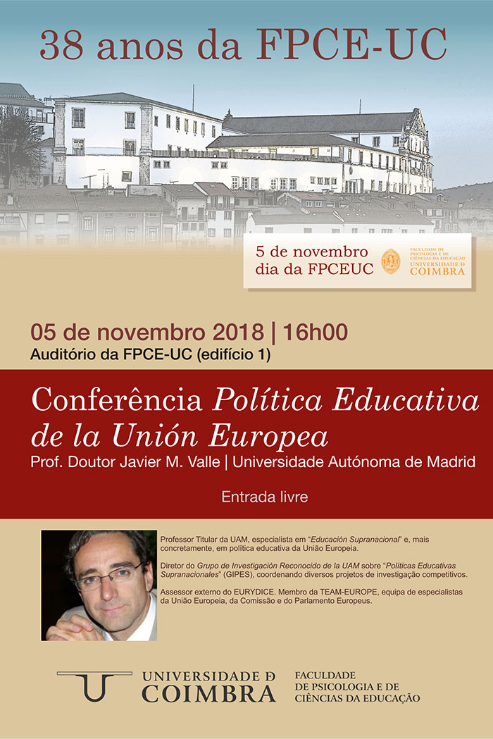 """Conferência """"Política educativa da União Europeia"""" (5 nov., Coimbra)"""