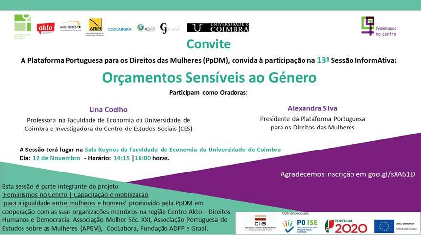 """13ª Sessão InformAtiva """"Orçamentos Sensíveis ao Género"""" (12 nov., Coimbra)"""