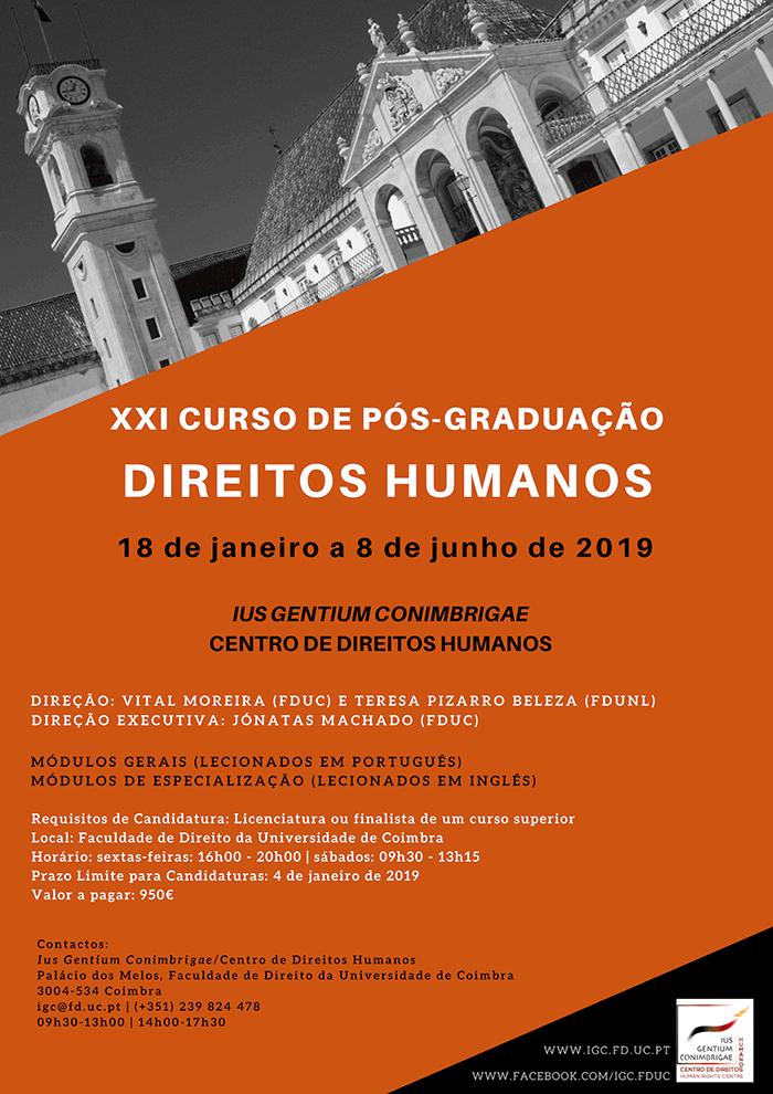 Inscrições abertas Pós Graduação em Direitos Humanos - Coimbra