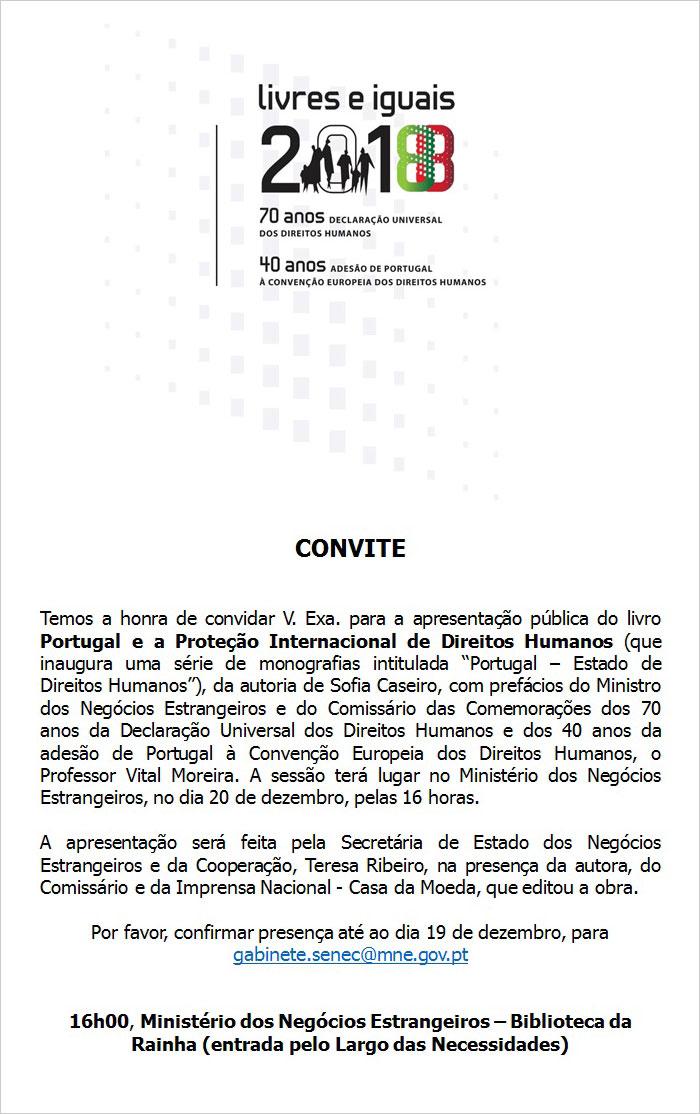Apresentação do livro «Portugal e a Proteção Internacional de Direitos Humanos» - 20 dezembro, Lisboa