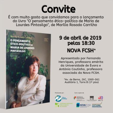 Lançamento do livro «O pensamento ético-político de Maria de Lourdes Pintasilgo»