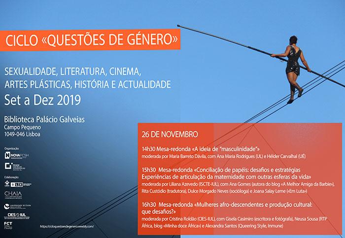 Ciclo «Questões de Género», 26 de novembro, Lisboa