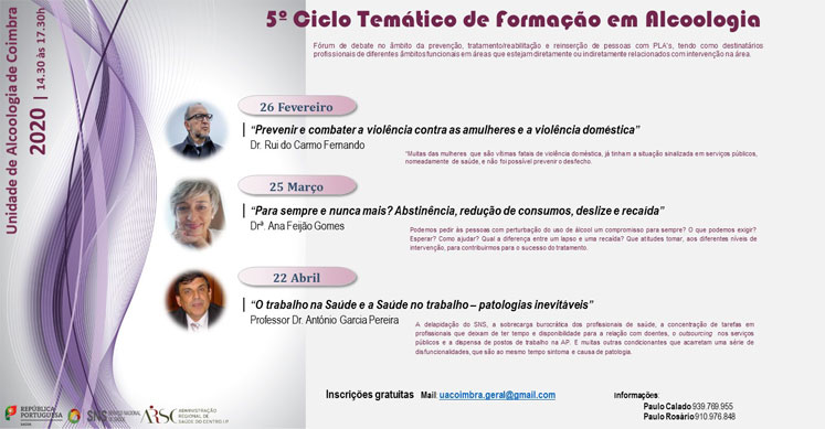 UAC realiza 5.º Ciclo Temático de Formação em Alcoologia - Coimbra