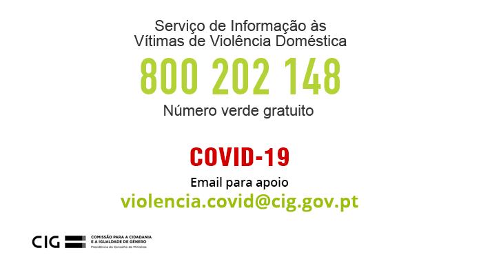 Covid-19 - Novo email para apoio na área da violência doméstica