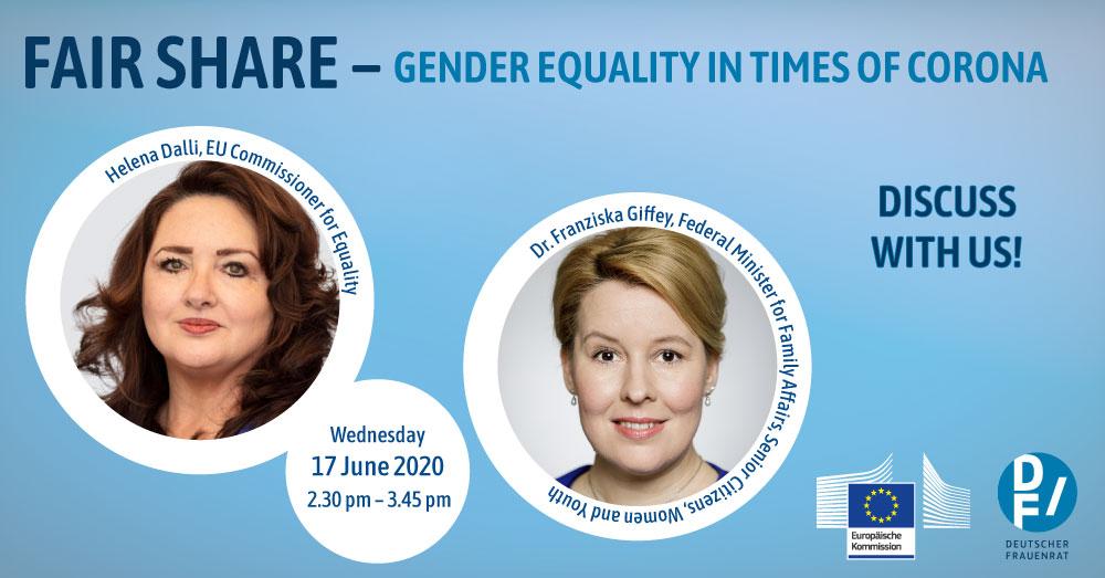 "Webinar ""Fair Share - Gender equality in times of corona"", 17 de junho"