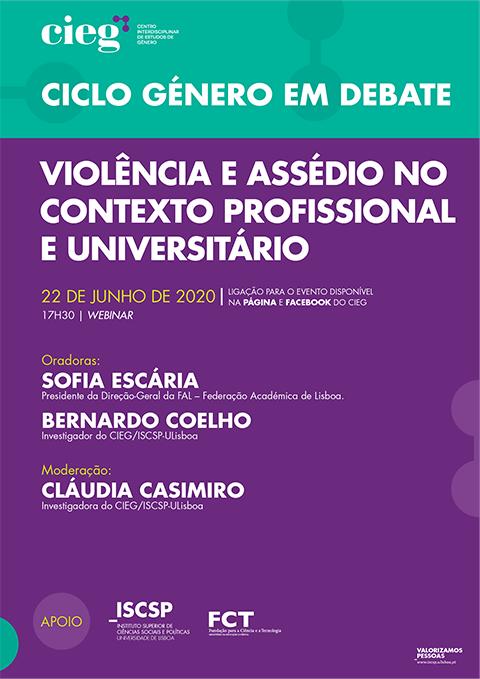 """Webinar """"Violência e Assédio no Contexto Profissional e Universitário"""", 22 junho, 17h30"""