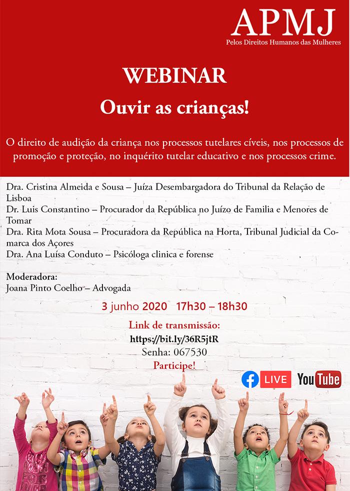 """Webinar - """"Ouvir as Crianças"""", 3 de junho, 17h00"""