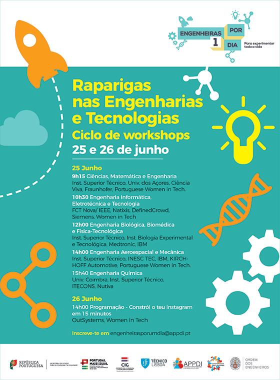 """Projeto Engenheiras por um dia - Workshops online """"Raparigas nas Engenharia e Tecnologias"""""""