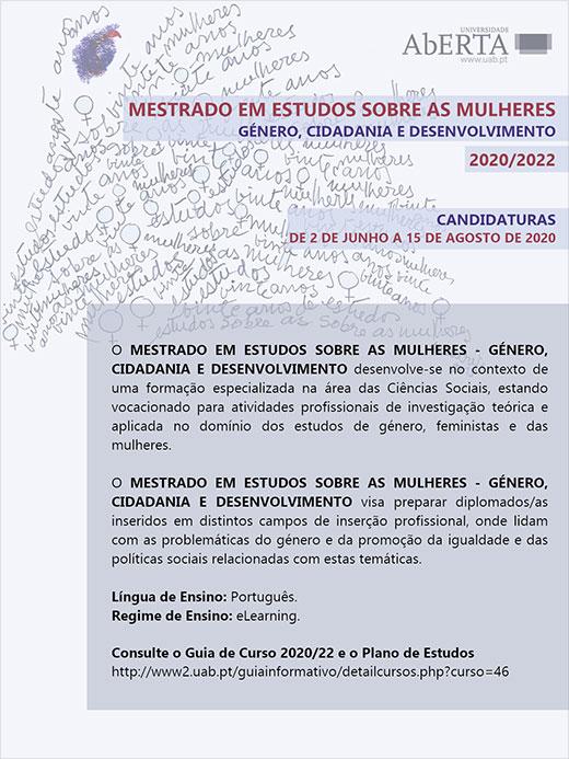 Candidaturas ao Mestrado em Estudos sobre as Mulheres- Género, Cidadania e Desenvolvimento
