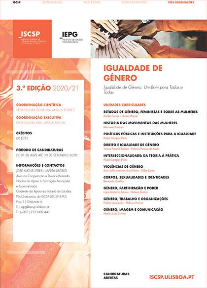 Inscrições para 3ª Edição do Curso de Pós-Graduação em Igualdade de Género