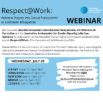 Comissão Australiana de Direitos Humanos realiza Webinar sobre assédio sexual no local de trabalho, 29 de julho, 13h00