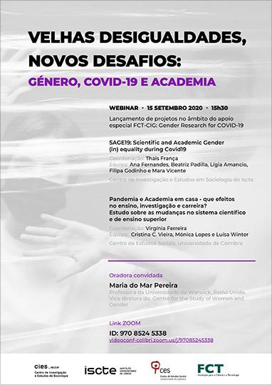 WEBINAR: Velhas Dificuldades, Novos Desafios: Género, COVID-19 e Academia | 15 de setembro | 15h30