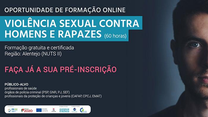 """Formação """"Violência sexual contra homens e rapazes - teoria e intervenção"""", 16 de outubro e 9 de novembro"""