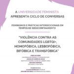 """Webinar """"Violência contra as comunidades lgbtqi+, homofóbica, lesbofóbica, bifóbica e transfóbica"""", 17 de setembro, 18h00"""
