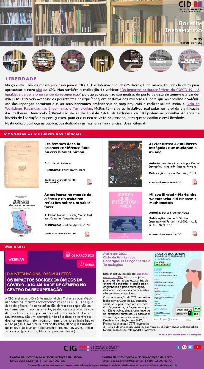 Boletim Informativo n.º 25 | março e abril 2021