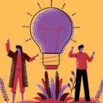 Ilustração com uma mulhere e um homem ladeando uma lâmpada acesa. As figuras estão sobre um terreno florido e sobre um fundo laranja. a mulher tem ambos os braçso levantados e a mão direita temo dedo indicador a appontar para cima. O homem tem ambos os braços levantdos.