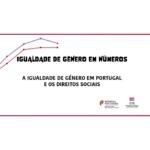 Ilustração representando uma mulher a vermelho e um homeme a roxo sobre um fundo branco e um gráfico ascendente. Título Igualdade de género em números - a igualdade de género em Portugal e os direitos sociais. Logótipos de Secretária de Estado para a Cidadania e a Igualdade e Comissõ para a Cidadania e a Igualdade de Género