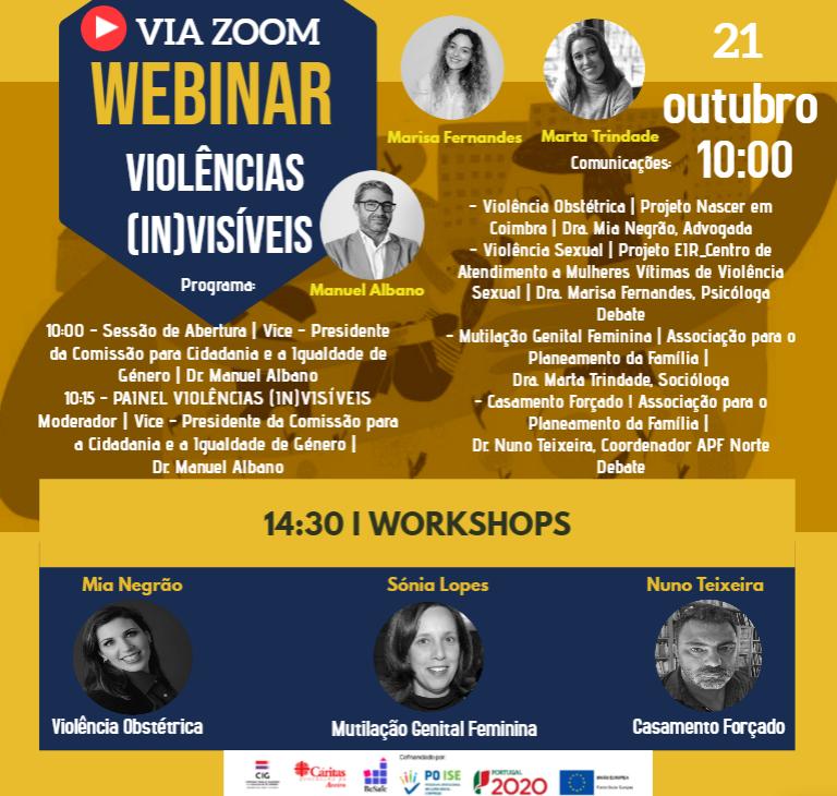 Cartaz de promoção do webinar Violências invisíveis, com a descrição do programa e oradores e oradoras.